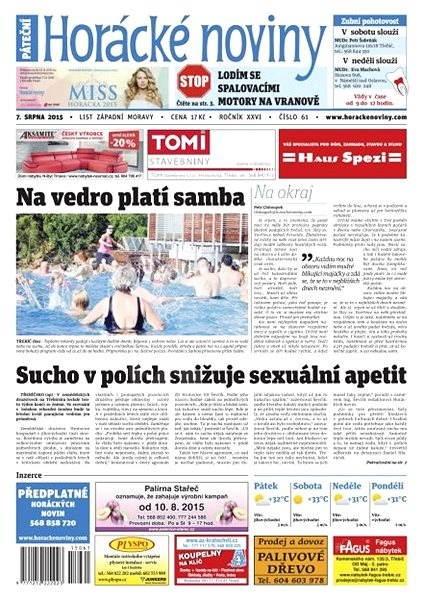 Horácké noviny - Pátek 7.8.2015 č. 61 - Electronic Newspaper
