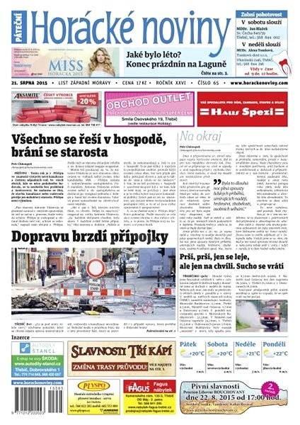 Horácké noviny - Pátek 21.8.2015 č. 65 - Electronic Newspaper
