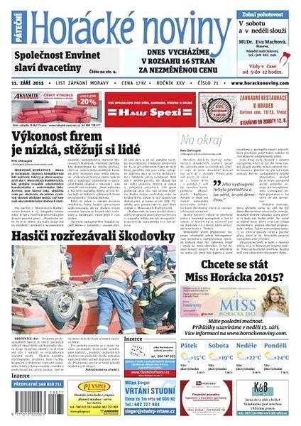 Horácké noviny - Pátek 11.9.2015 č. 71 - Electronic Newspaper