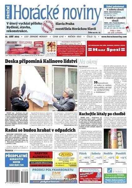 Horácké noviny - Pátek 25.9.2015 č. 75 - Electronic Newspaper