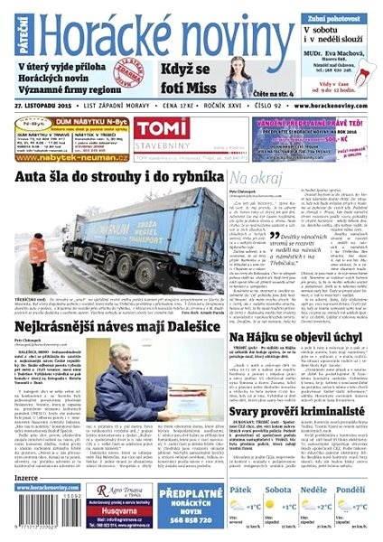 Horácké noviny - Pátek 27.11.2015 č. 92 - Electronic Newspaper