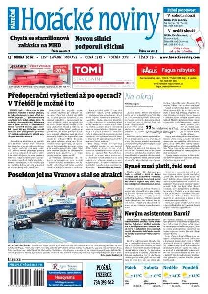 Horácké noviny - Pátek 15.4.2016 č. 029 - Elektronické noviny