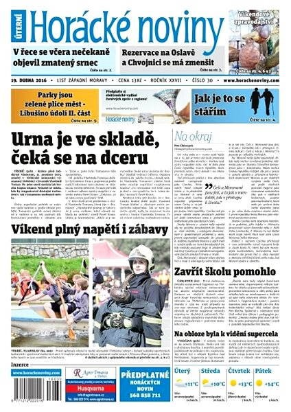 Horácké noviny - Úterý 19.4.2016 č. 030 - Elektronické noviny