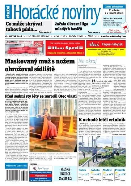 Horácké noviny - Pátek 13.5.2016 č.037 - Elektronické noviny