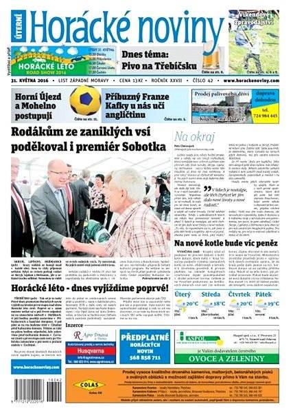 Horácké noviny - Úterý 31.5.2016 č. 042 - Elektronické noviny