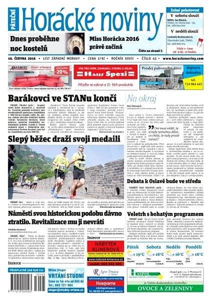 Horácké noviny - Pátek 10.6.2016 č.045 - Elektronické noviny