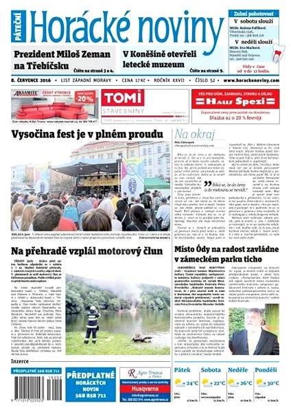 Horácké noviny - Pátek 8.7.2016 č.052 - Elektronické noviny