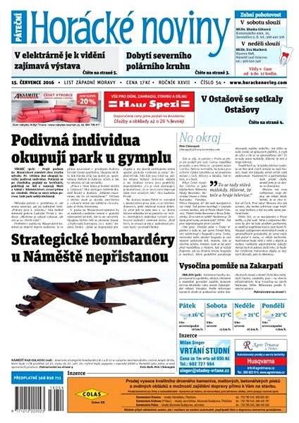 Horácké noviny - Pátek 15.7.2016 č.054 - Elektronické noviny