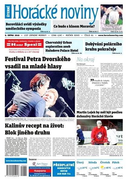 Horácké noviny - Úterý 9.8.2016 č. 61 - Elektronické noviny