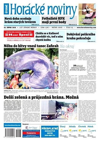 Horácké noviny - Úterý 16.8.2016 č. 063 - Elektronické noviny