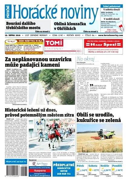 Horácké noviny - Pátek 19.8.2016 č. 064 - Elektronické noviny