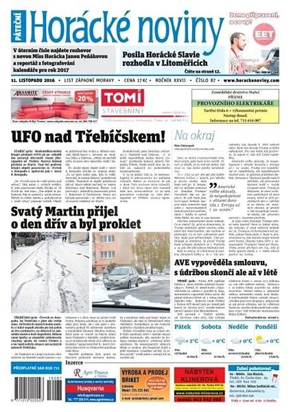 Horácké noviny - Pátek 11.11.2016 č. 087 - Elektronické noviny