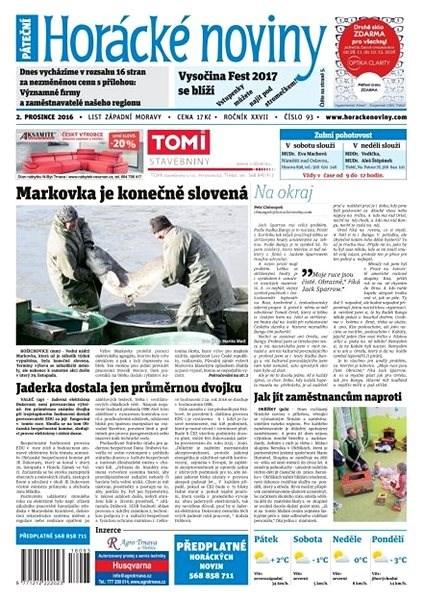 Horácké noviny - Pátek 2.12.2016 č. 093 - Elektronické noviny