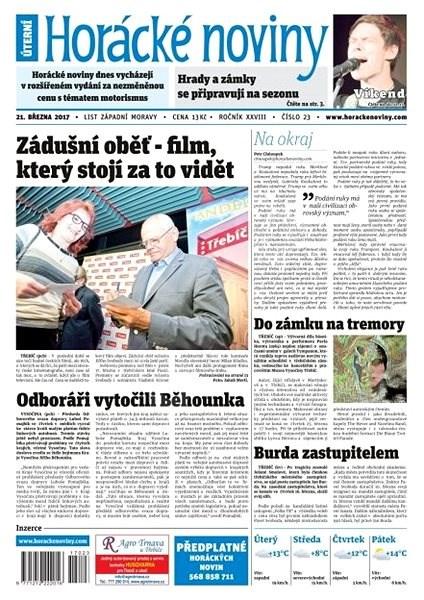 Horácké noviny - Úterý 21.3.2017 č.023 - Elektronické noviny