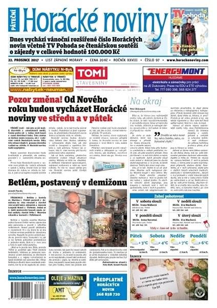 Horácké noviny - Pátek 22.12.2017 č. 097 - Elektronické noviny