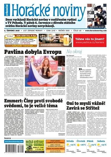 Horácké noviny - Středa 4.7.2018 č. 049 - Elektronické noviny