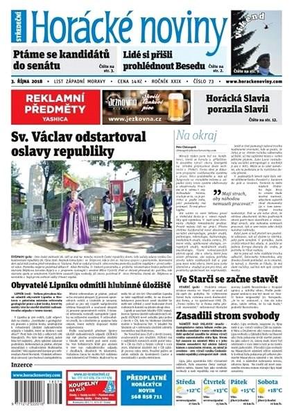 Horácké noviny - Středa 3.10.2018  č. 073 - Elektronické noviny