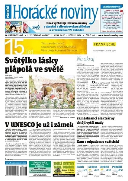 Horácké noviny - Pátek 21.12.2018 č. 096 - Elektronické noviny