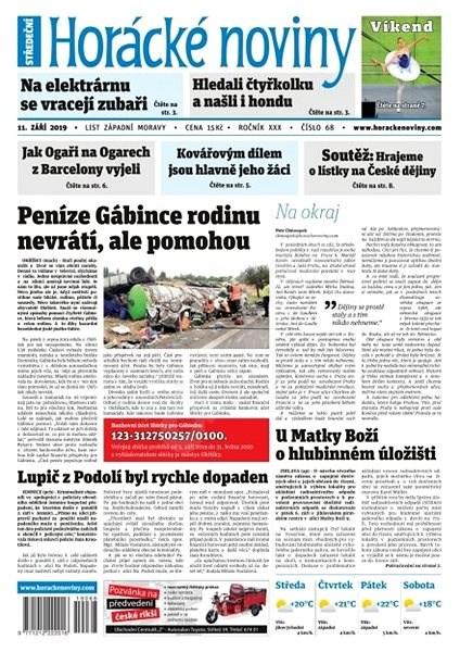 Horácké noviny - Středa 11.9.2019 č. 068 - Elektronické noviny