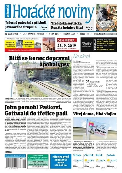 Horácké noviny - Středa 25.9.2019 č. 072 - Elektronické noviny