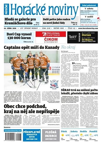 Horácké noviny - Pátek 10.1.2020 č. 003 - Elektronické noviny
