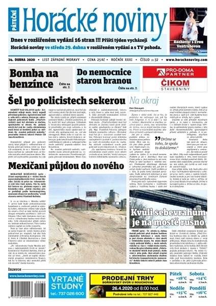 Horácké noviny - Pátek 24.4.2020 č. 032 - Elektronické noviny