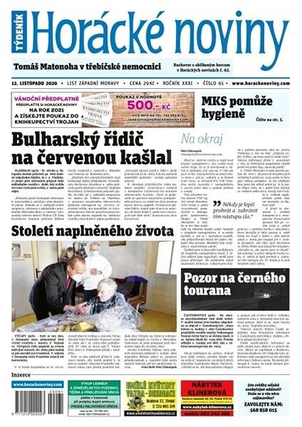 Horácké noviny - Čtvrtek 12.11.2020 č. 061 - Elektronické noviny