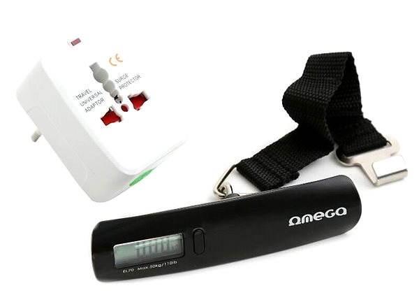 Omega 220-250V, US+EU+UK zástrčka + digitální cestovní váha - Cestovní adaptér