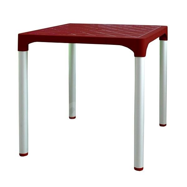MEGAPLAST VIVA 72x72x72 cm, AL nohy, bordó - Zahradní stůl