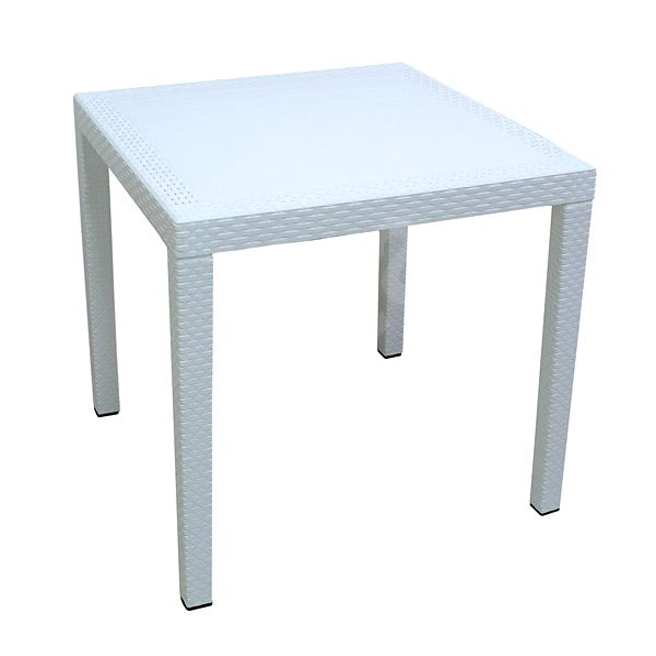 MEGAPLAST RATAN LUX 73x75,5x75,5 cm, polyratan, bílý - Zahradní stůl
