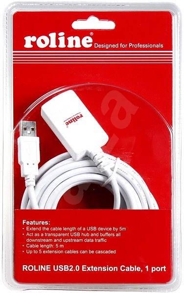ROLINE USB 2.0 prodlužovací 5m A-A aktivní bílý - Datový kabel