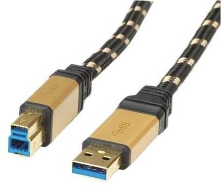 ROLINE Gold USB 3.0 SuperSpeed USB 3.0 A(M) -> USB 3.0 B(M), 3m - černo/zlatý - Datový kabel