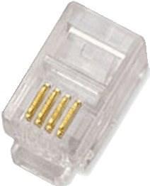 100-pack,Datacom RJ10, CAT3, UTP, 4p4c, nestíněný, skládaný, na licnu (lanko) - Konektor