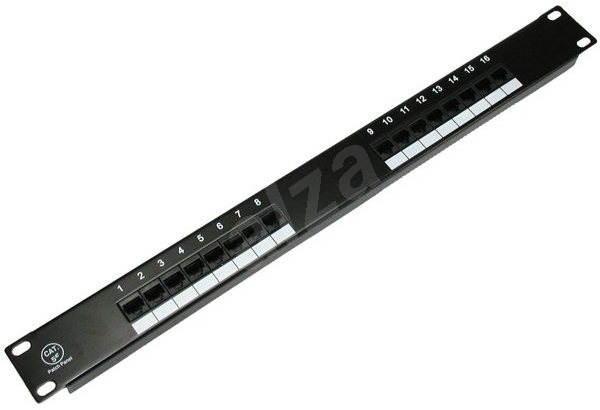 Datacom 16x RJ45, přímý, CAT5E, UTP, černý, 1U - Patch panel
