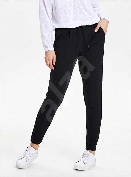 ONLY Černé zkrácené kalhoty s vysokým pasem Poptrash XL  - Kalhoty