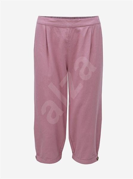 VERO MODA Starorůžové 3/4 lněné kalhoty s vysokým pasem Anna XS  - Kalhoty
