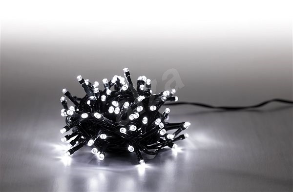 Marimex Light Chain 100 LED 5m - Cold White - Green Cable - 8 Functions - Christmas Chain Lights