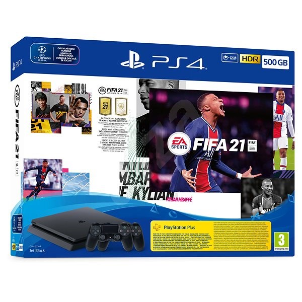 PlayStation 4 Slim 500GB + FIFA 21 + 2x DualShock 4 - Herní konzole