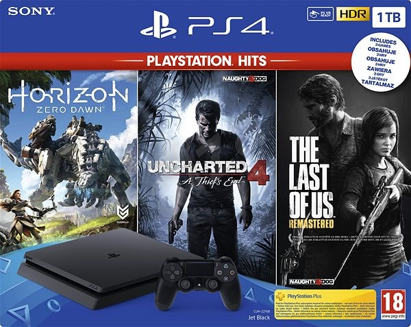 PlayStation 4 Slim 1TB + 3 hry (The Last Of Us, Uncharted 4, Horizon Zero Dawn) - Herní konzole