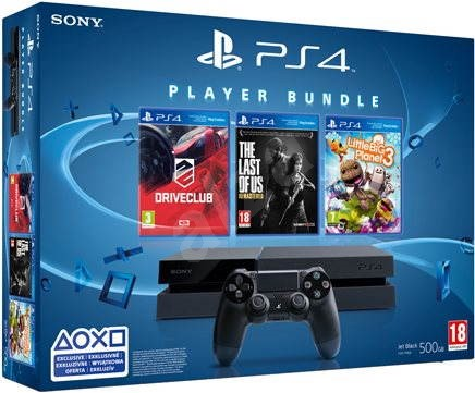 Sony Playstation 4 + 3 hry (Driveclub, The Last of Us, Little Big Planet 3) - Herní konzole