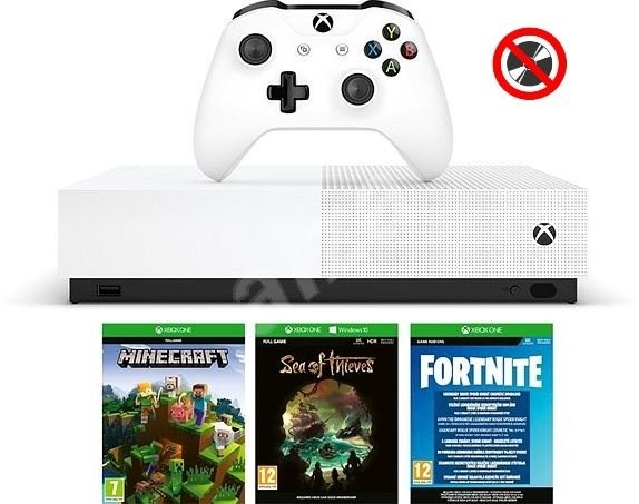 Xbox One S 1TB All-Digital + 3 hry (Fortnite, Minecraft, Sea of Thieves ) - Herní konzole