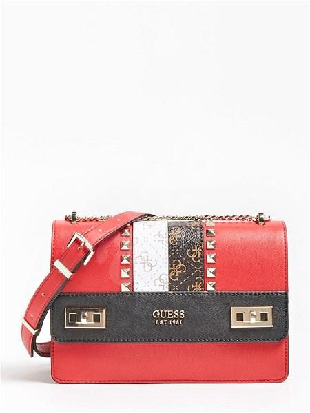 GUESS Katey Logo Strip Crossbody Bag - Red Multi - Kabelka