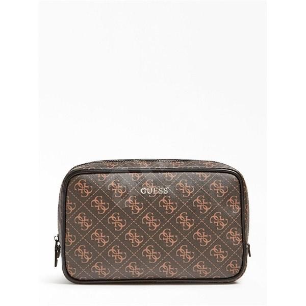 GUESS Vezzola 4g Logo Vanity Bag - Brown - Kosmetická taštička