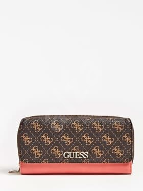 GUESS Camy 4g Logo Colour-Block Wallet - Brown Multi - Peněženka