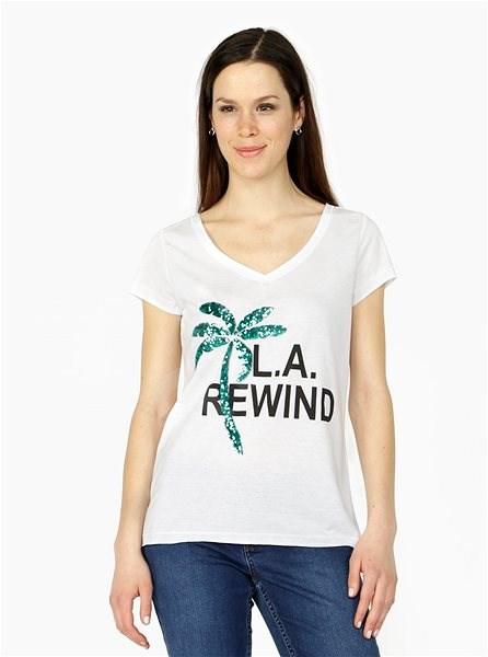 Bílé tričko s potiskem a palmou z flitrů VERO MODA Bling XS - Dámské tričko