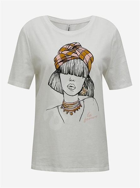 Bílé tričko s potiskem ONLY Violet XS - Dámské tričko
