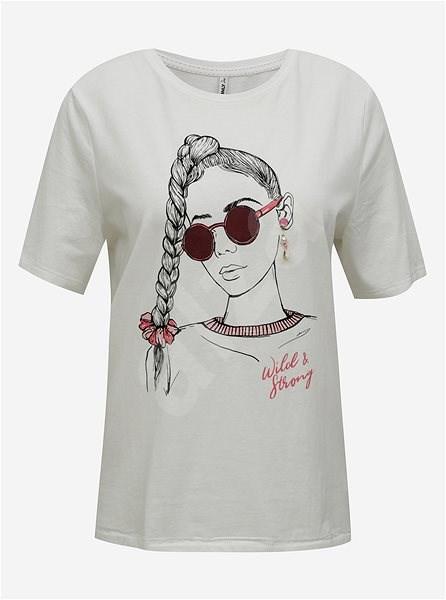 Bílé tričko s potiskem ONLY Violet - Dámské tričko