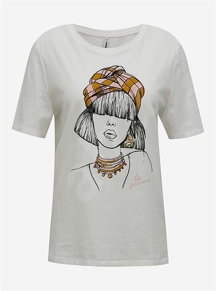 Bílé tričko s potiskem ONLY Violet L - Dámské tričko