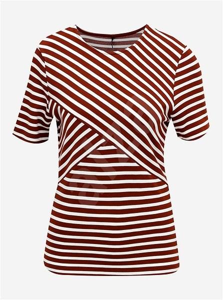 Hnědé pruhované tričko ONLY Laila M - Dámské tričko
