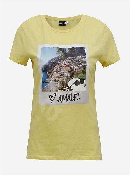 Žluté tričko s potiskem ONLY Peanuts M - Dámské tričko